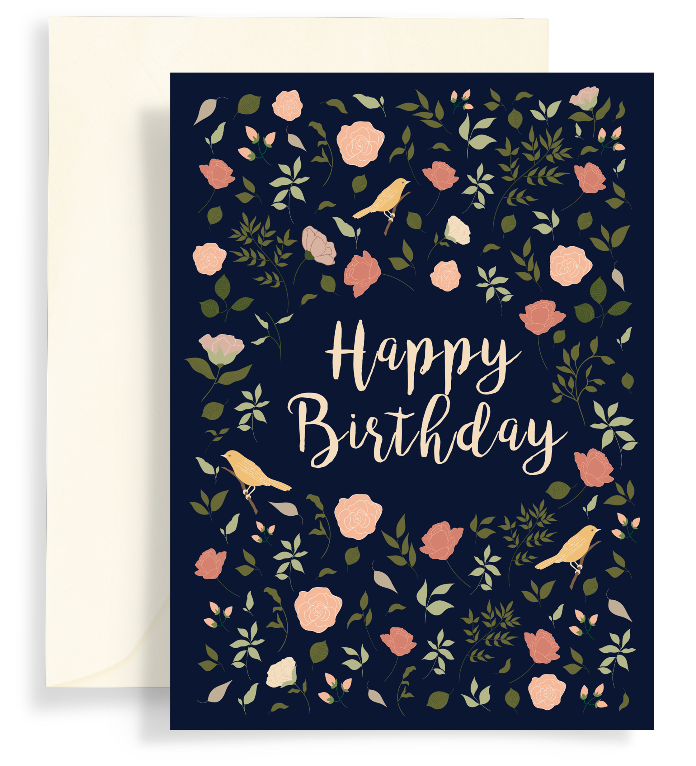 Illustrated greeting card with a lovely floral pattern and yellow birds on a dark navy background. Text says 'happy birthday'