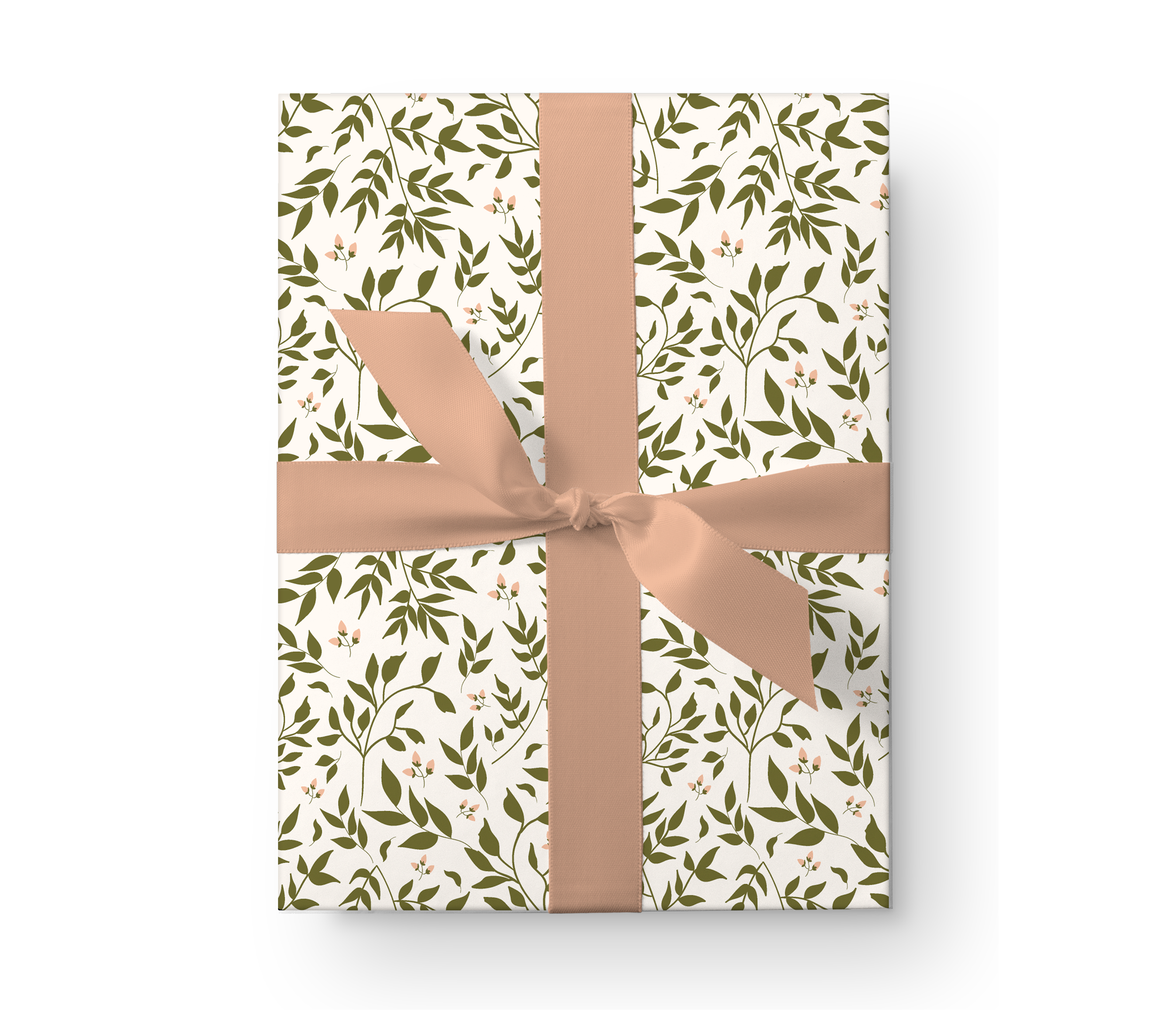 Illustrated wrapping paper gift box with a lovely leafy vines foliage pattern on a cream background.