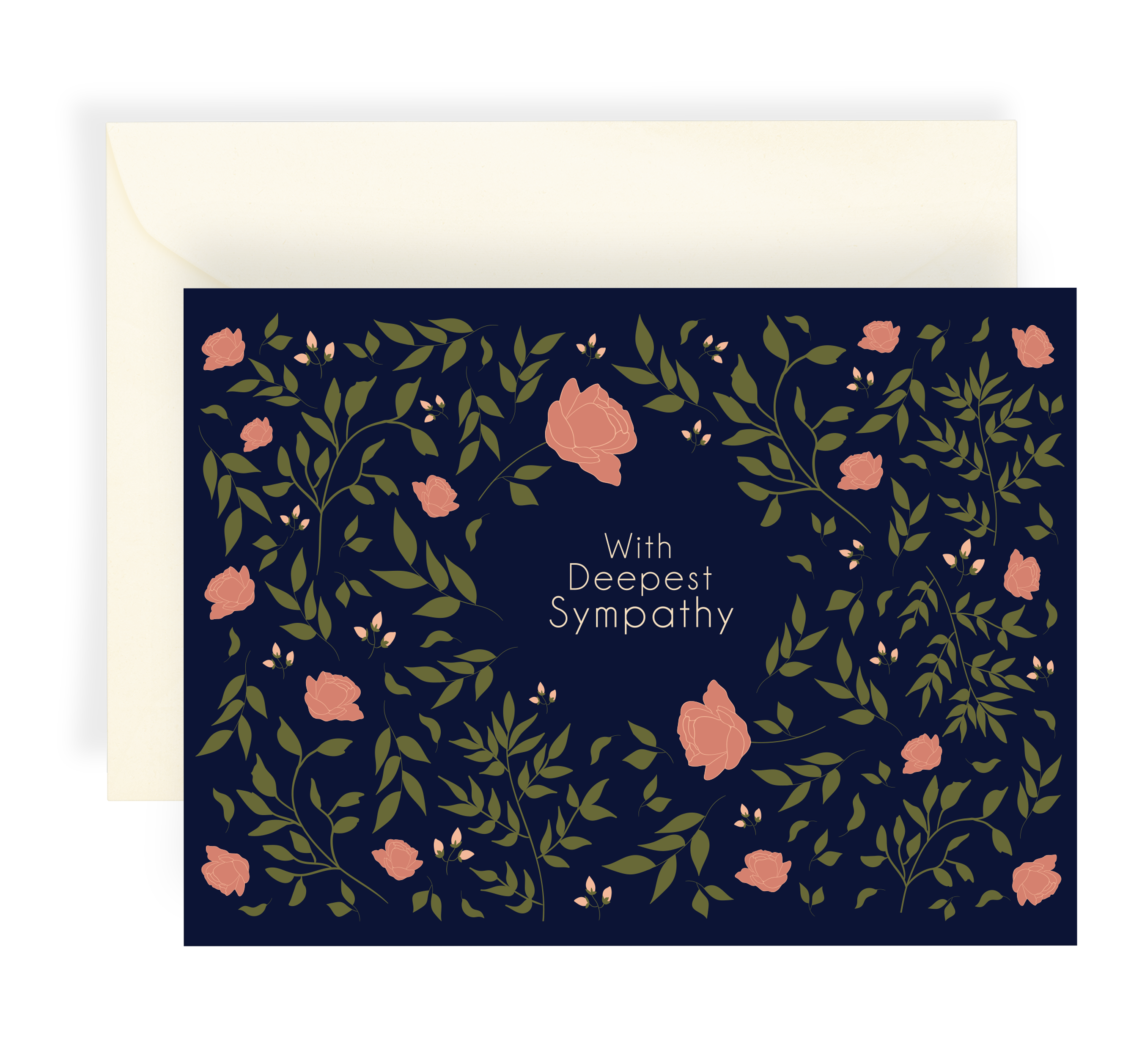 Illustrated greeting card with a beautiful floral roses pattern on a dark navy background. Text says 'with deepest sympathy'