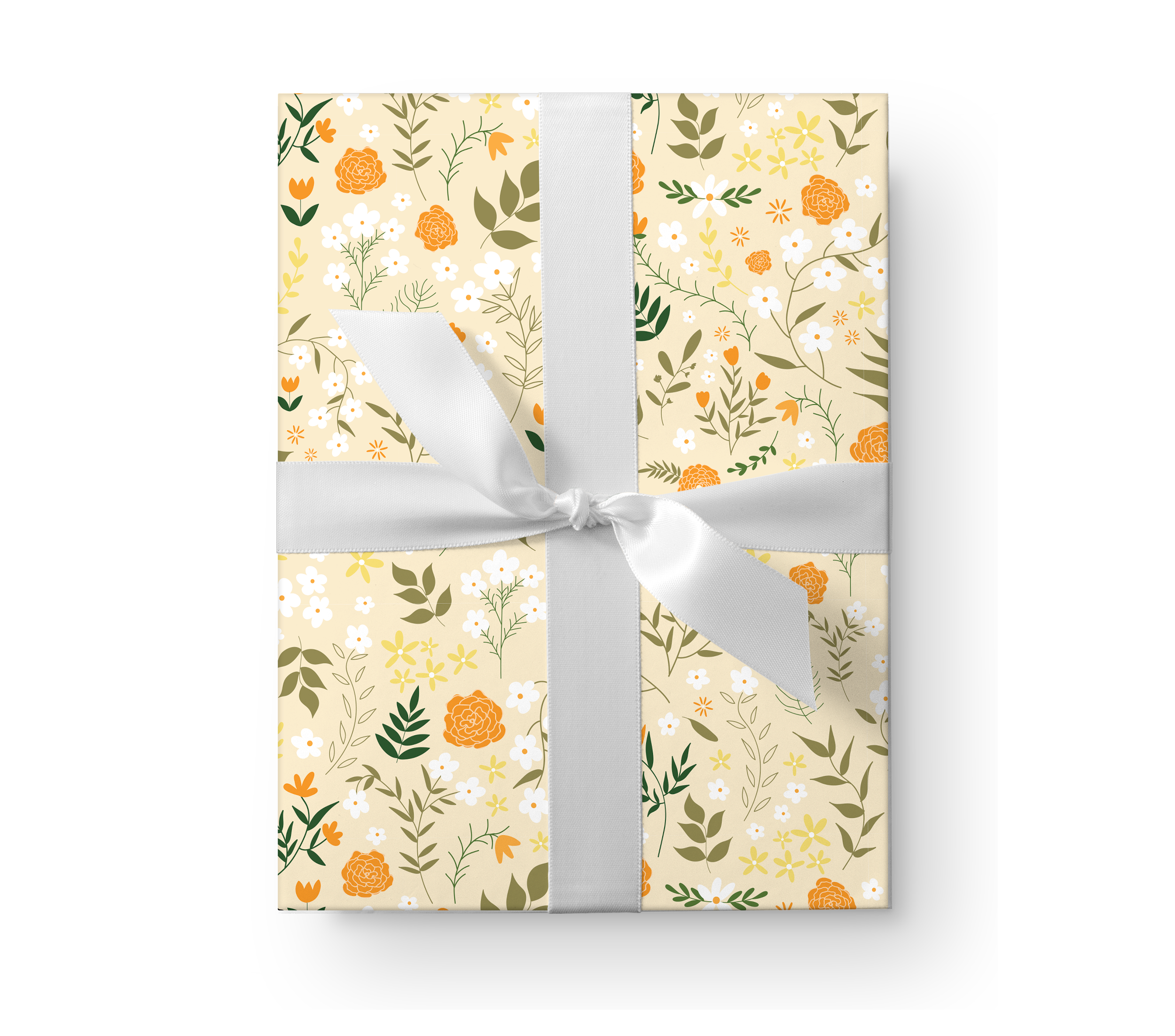 Illustrated wrapping paper gift box with a lovely orange floral pattern on a pale yellow background.