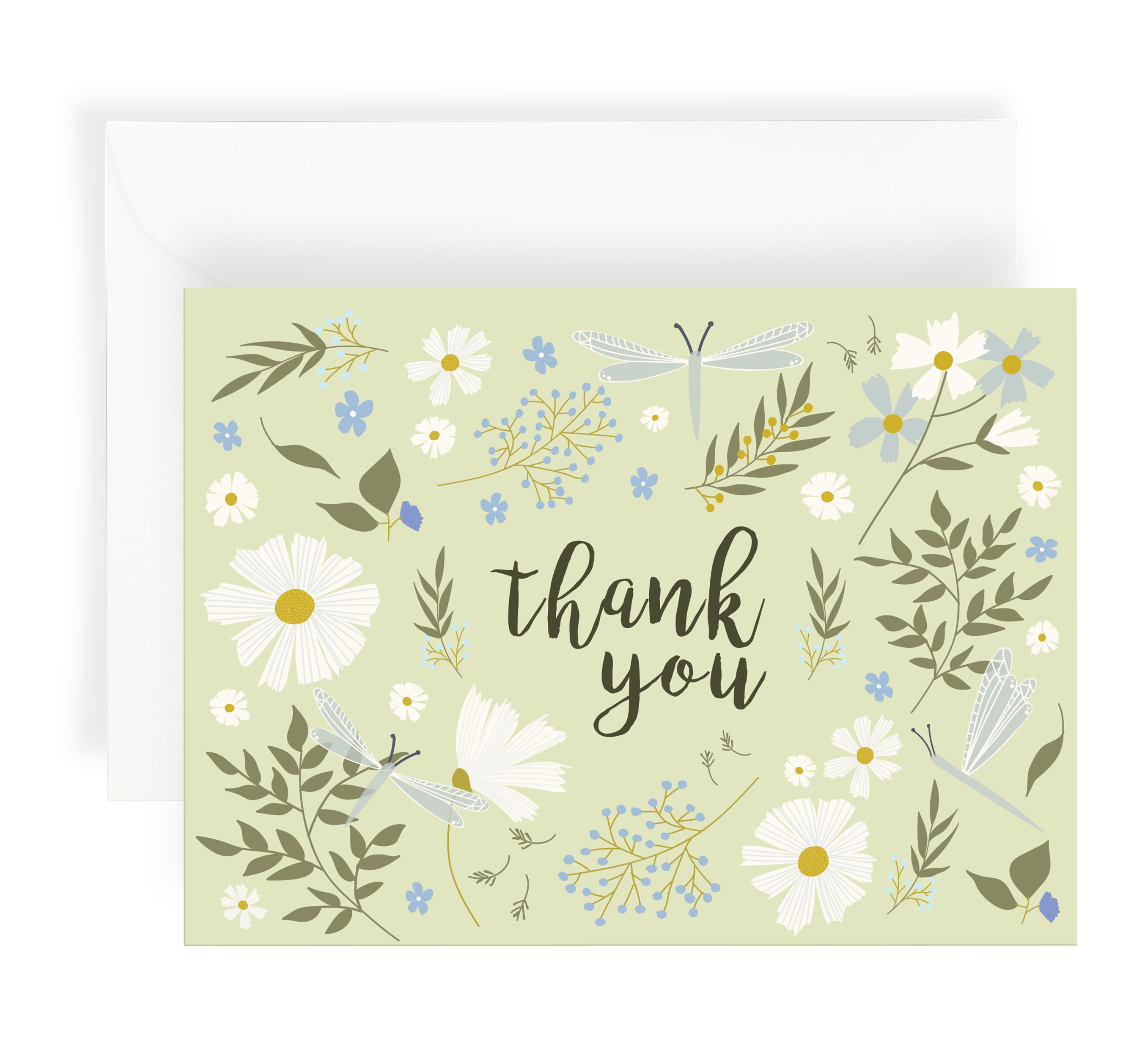 Illustrated greeting card with a lovely floral pattern including daisies and dragonflies on a pale green background. Text says 'Thank You'