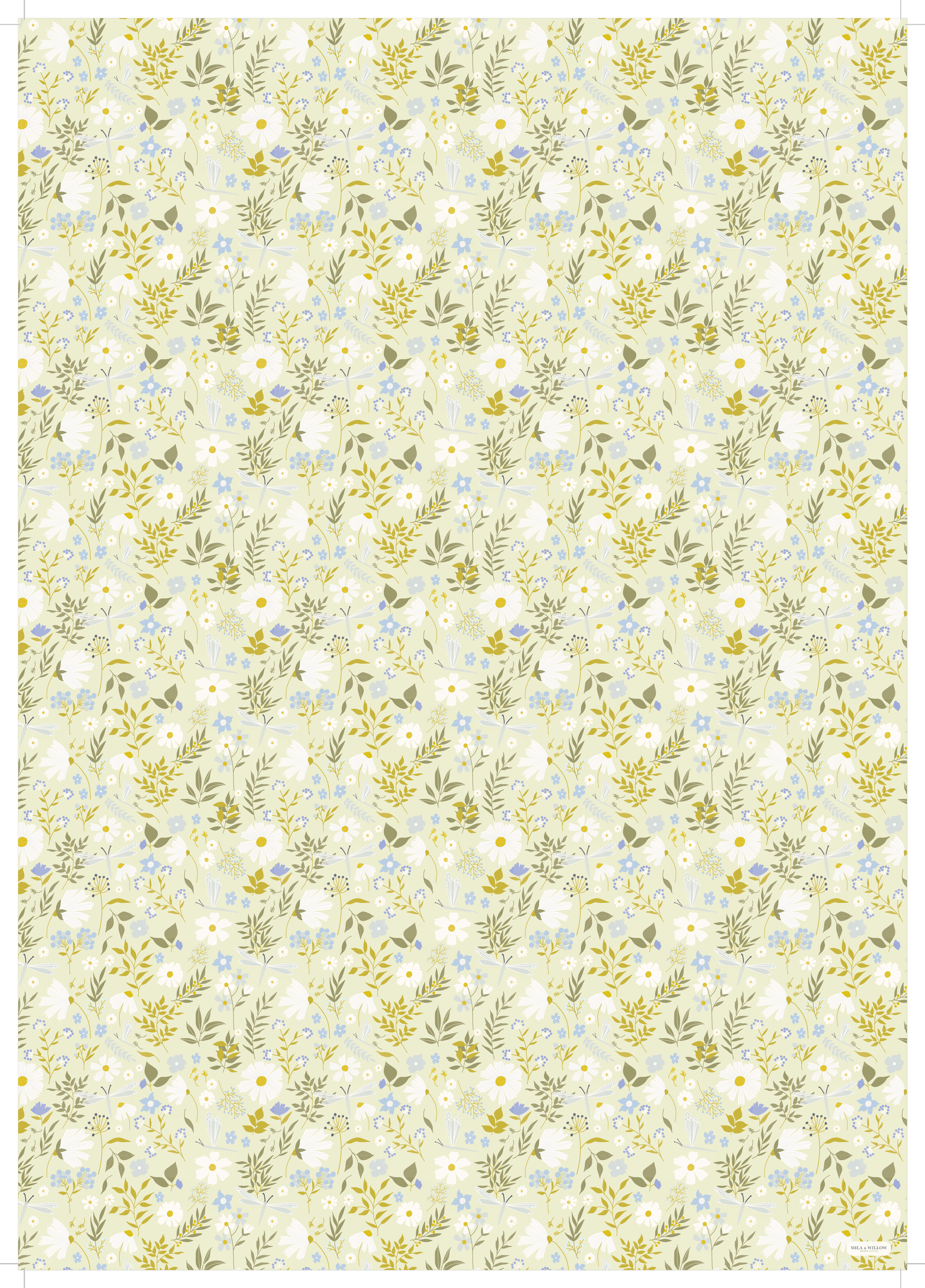 Illustrated wrapping paper with a lovely floral pattern with daisies and dragonflies on a pale green background.