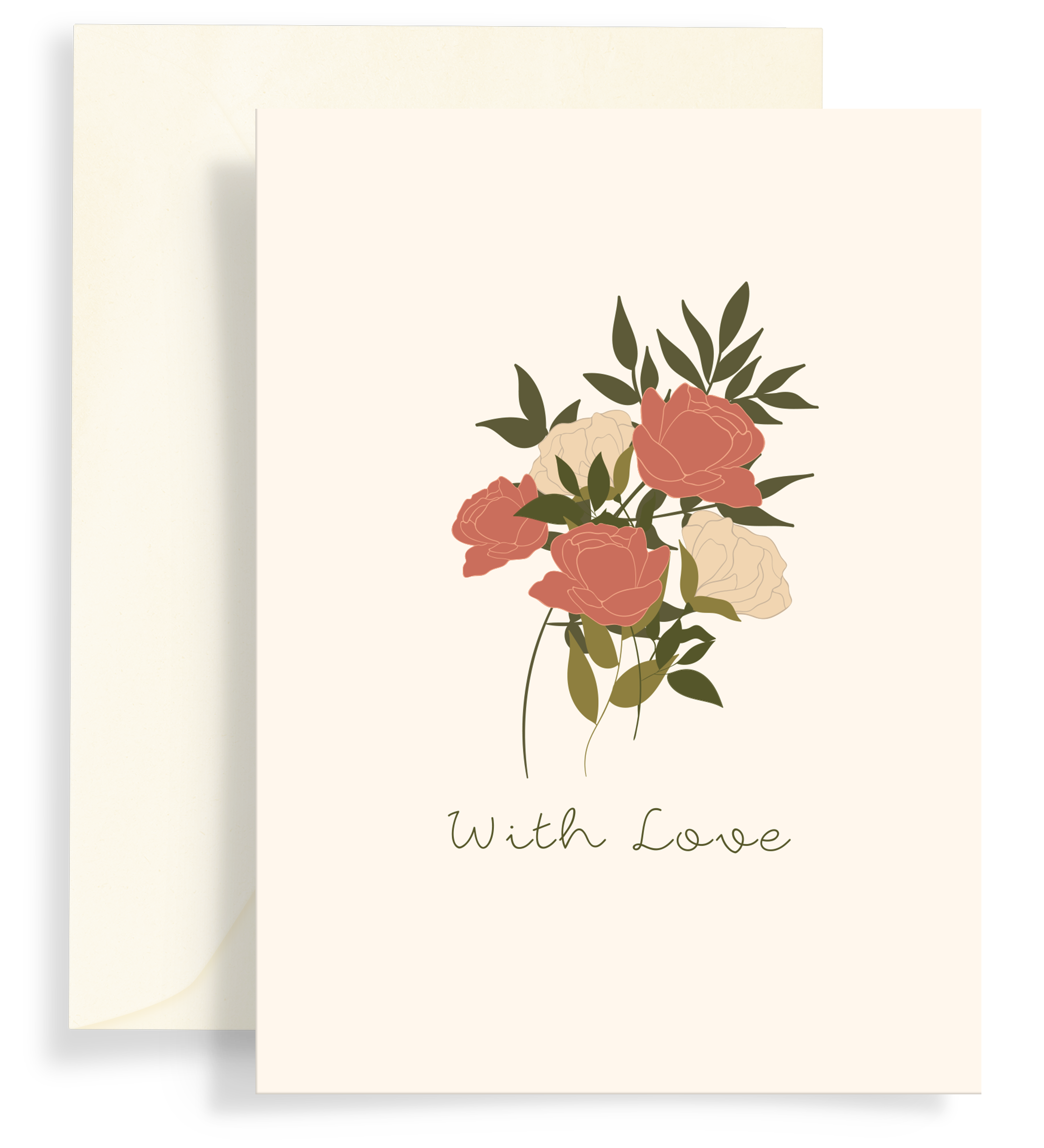 Illustrated greeting card with a beautiful rose bouquet design on a cream background. Text says 'with love'