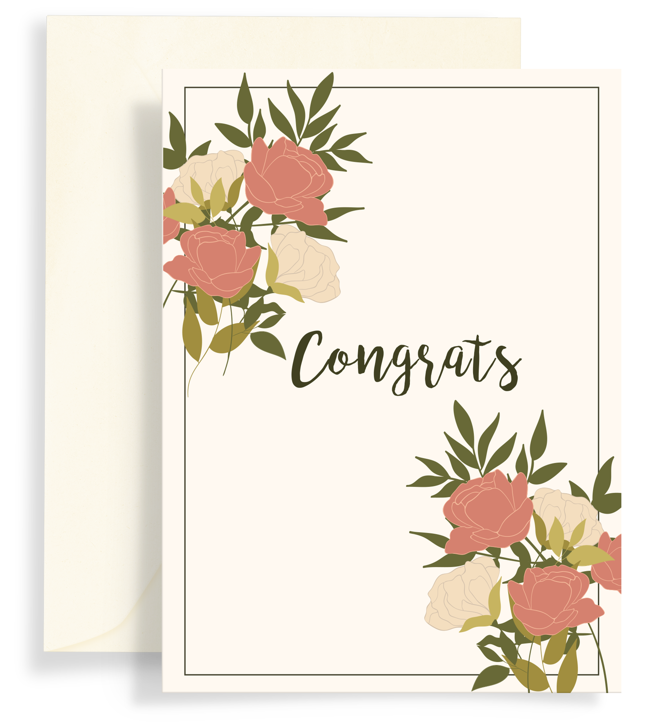 Illustrated greeting card with a beautiful rose bouquet design on a cream background. Text says 'Congrats""
