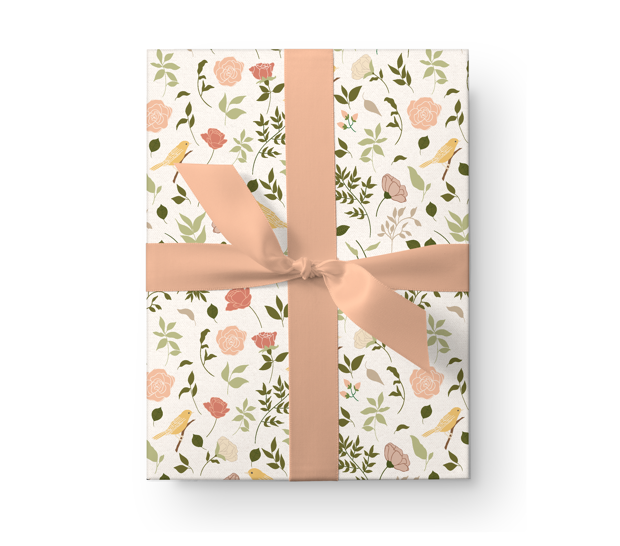 Illustrated wrapping paper gift box with a beautiful rose floral pattern with yellow birds on a cream background.