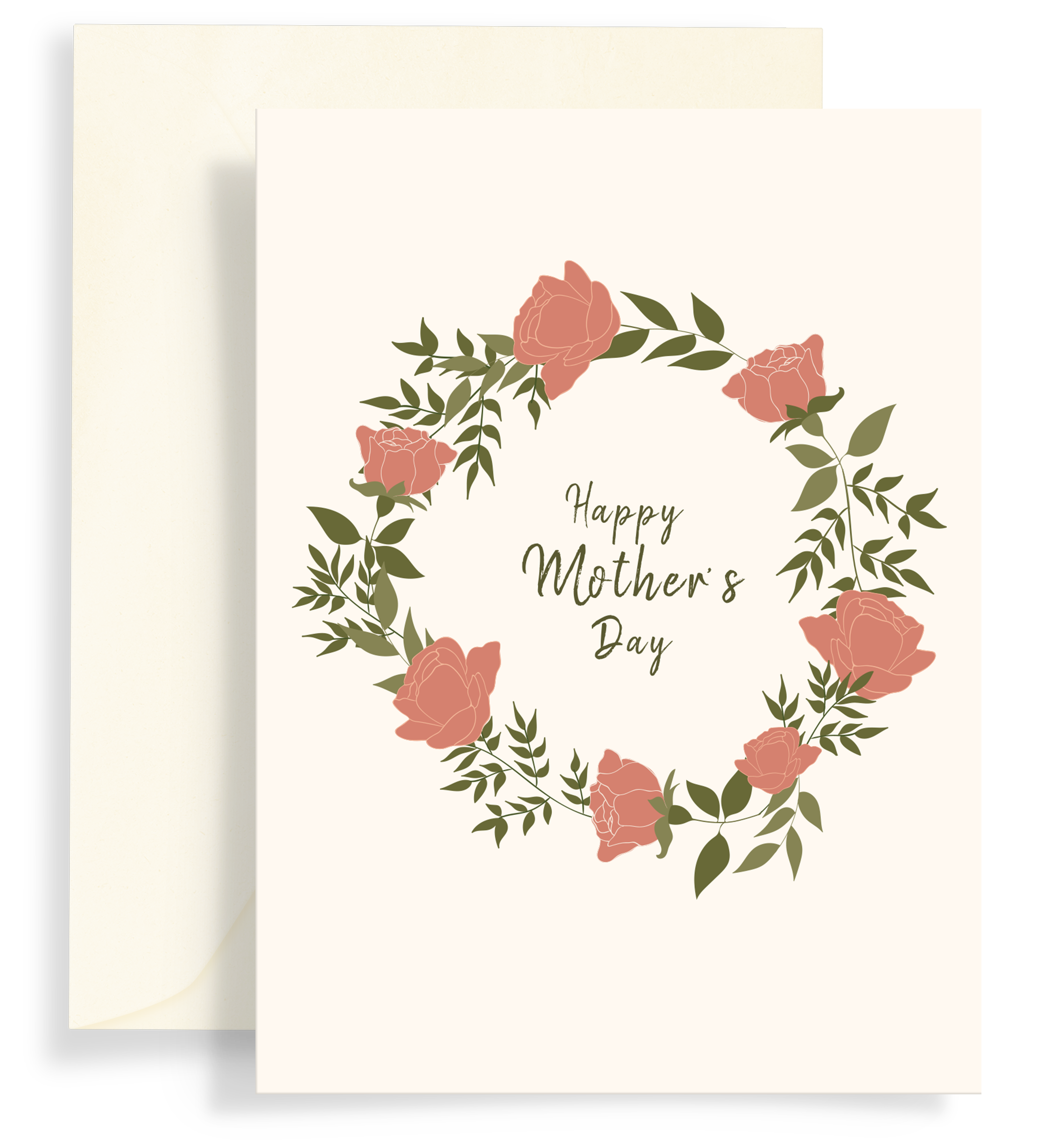Illustrated greeting card with a beautiful rose wreath on a lovely cream background. Text says 'Happy Mother's Day'