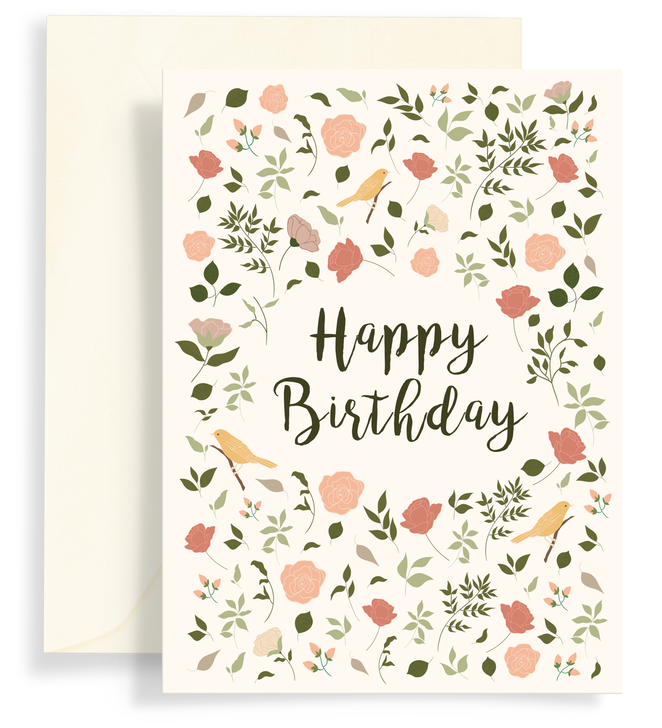 Illustrated greeting card with a lovely floral pattern with yellow birds on a cream background. Text says 'happy birthday'