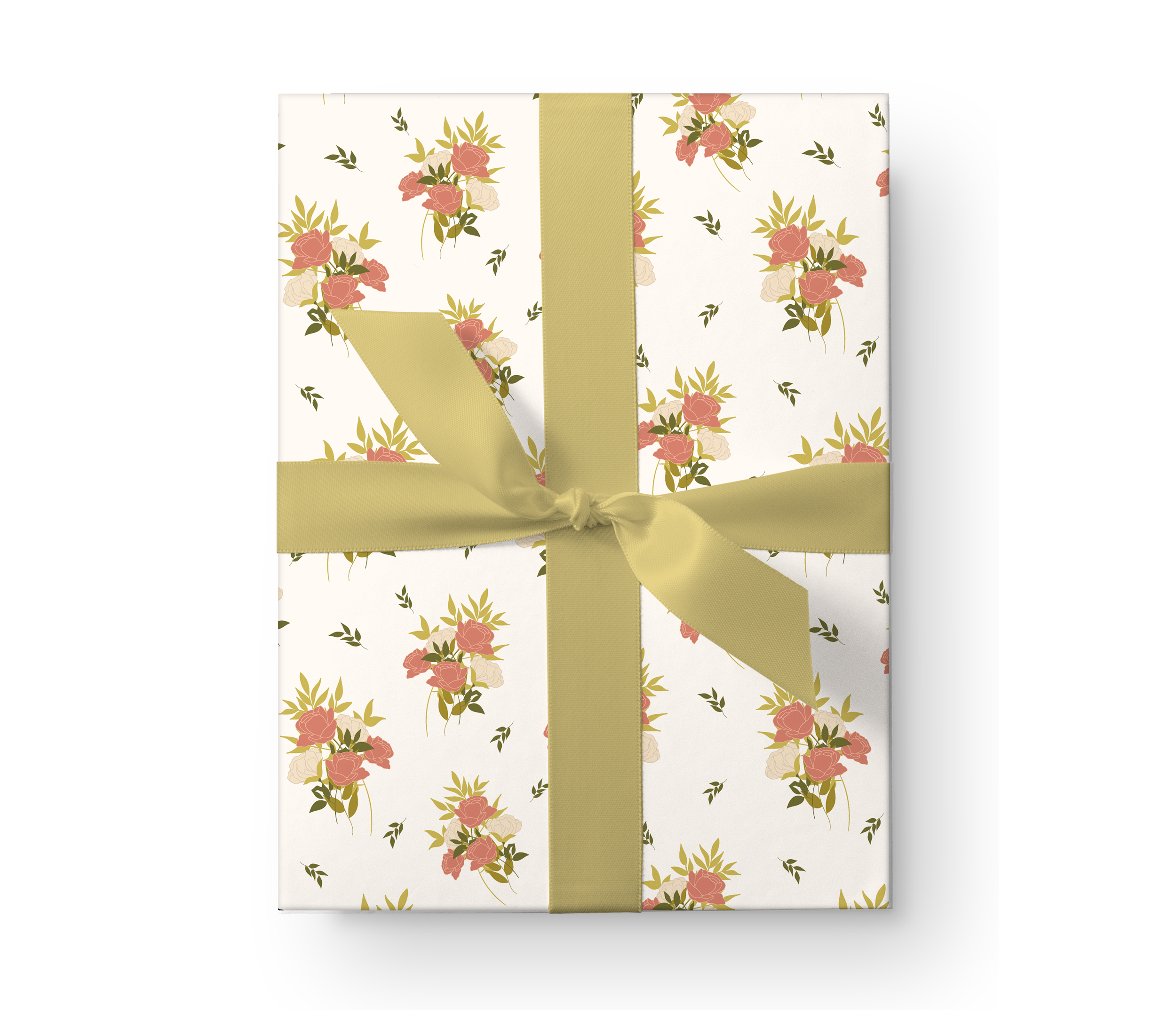 Illustrated wrapping paper gift box with a beautiful rose bouquet floral pattern on a cream background.