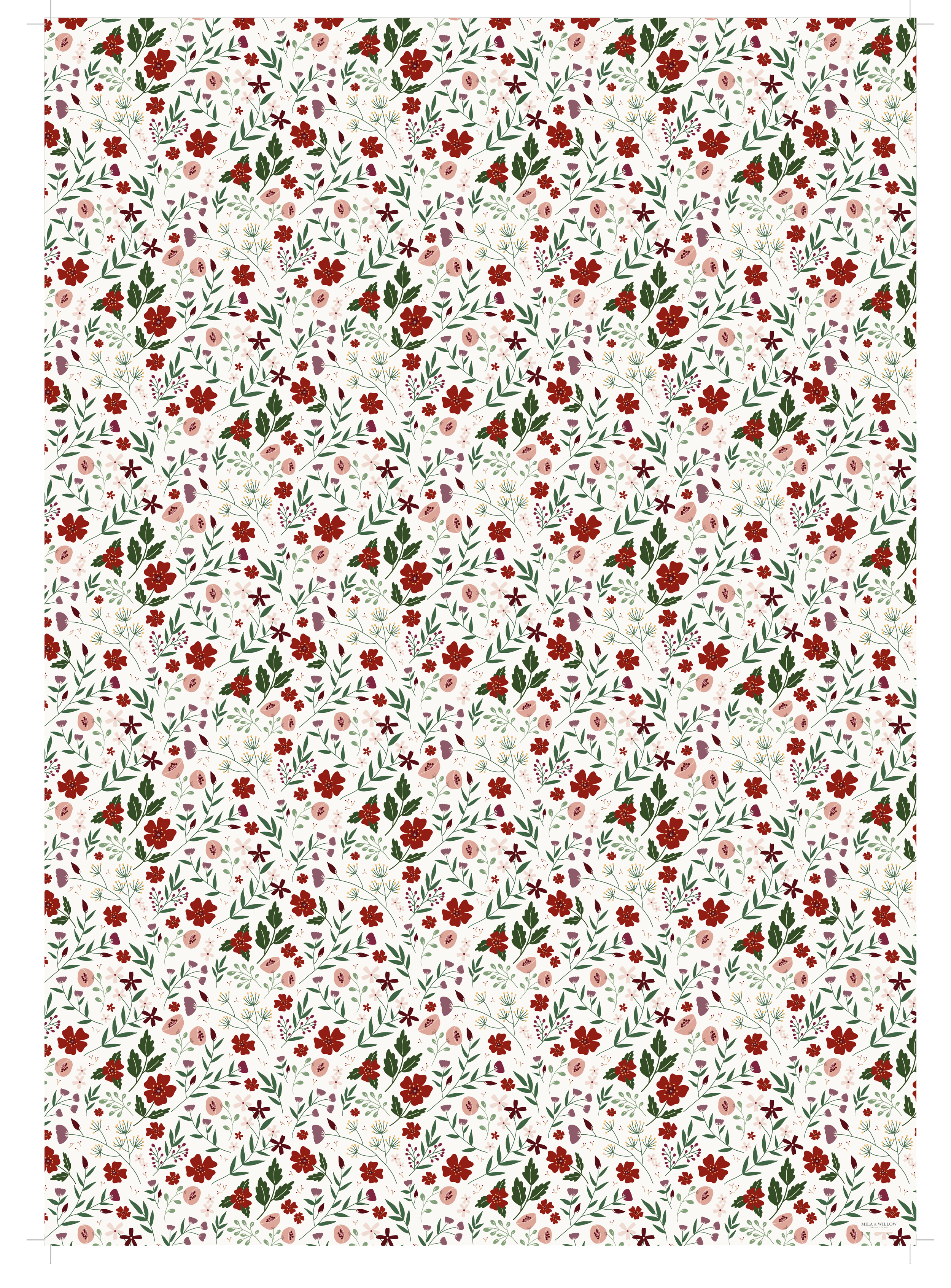 Illustrated wrapping paper with a beautiful red floral pattern on a white background.