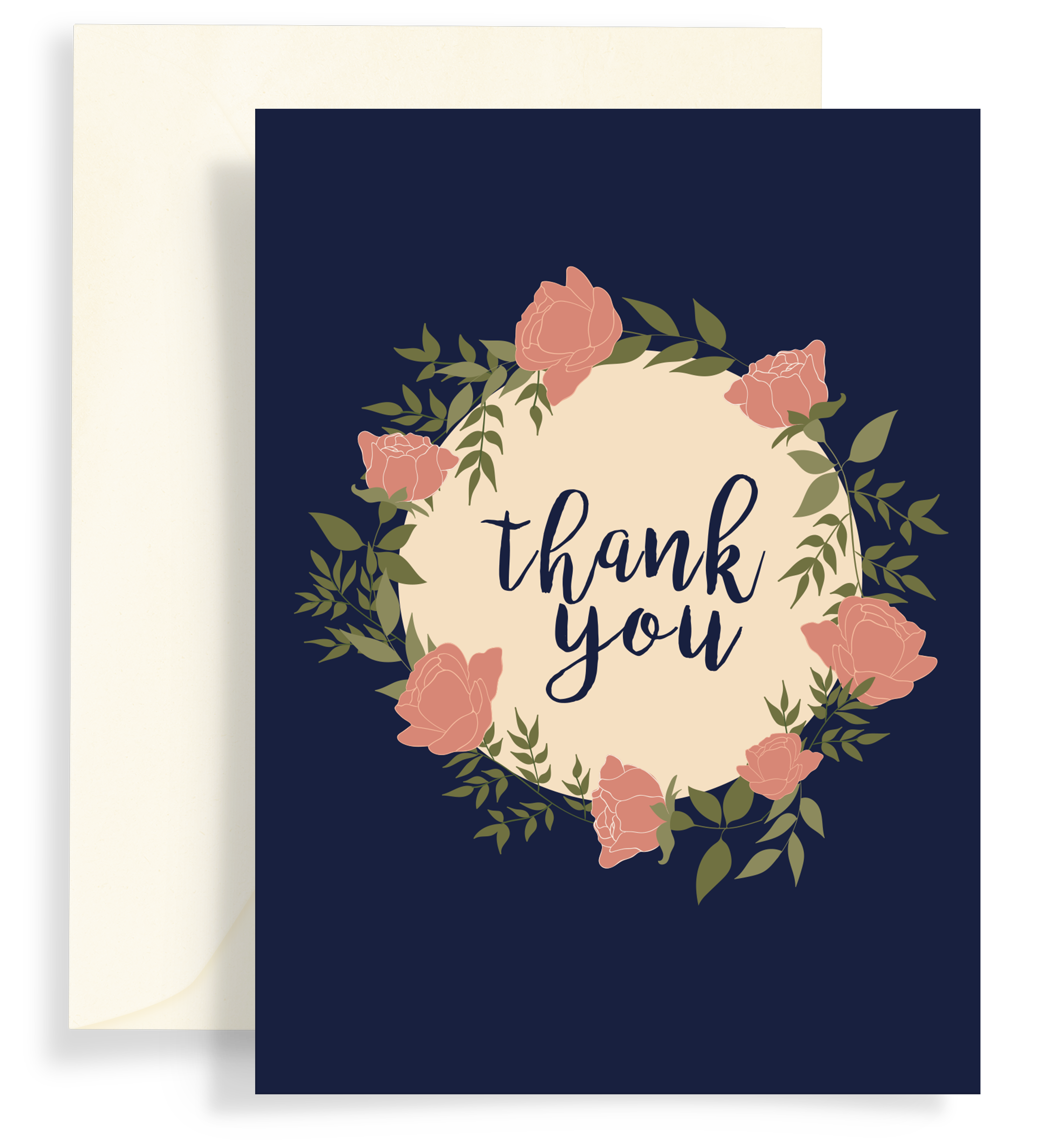 Illustrated greeting card with a beautiful rose wreath on a dark navy background. Text says 'thank you'