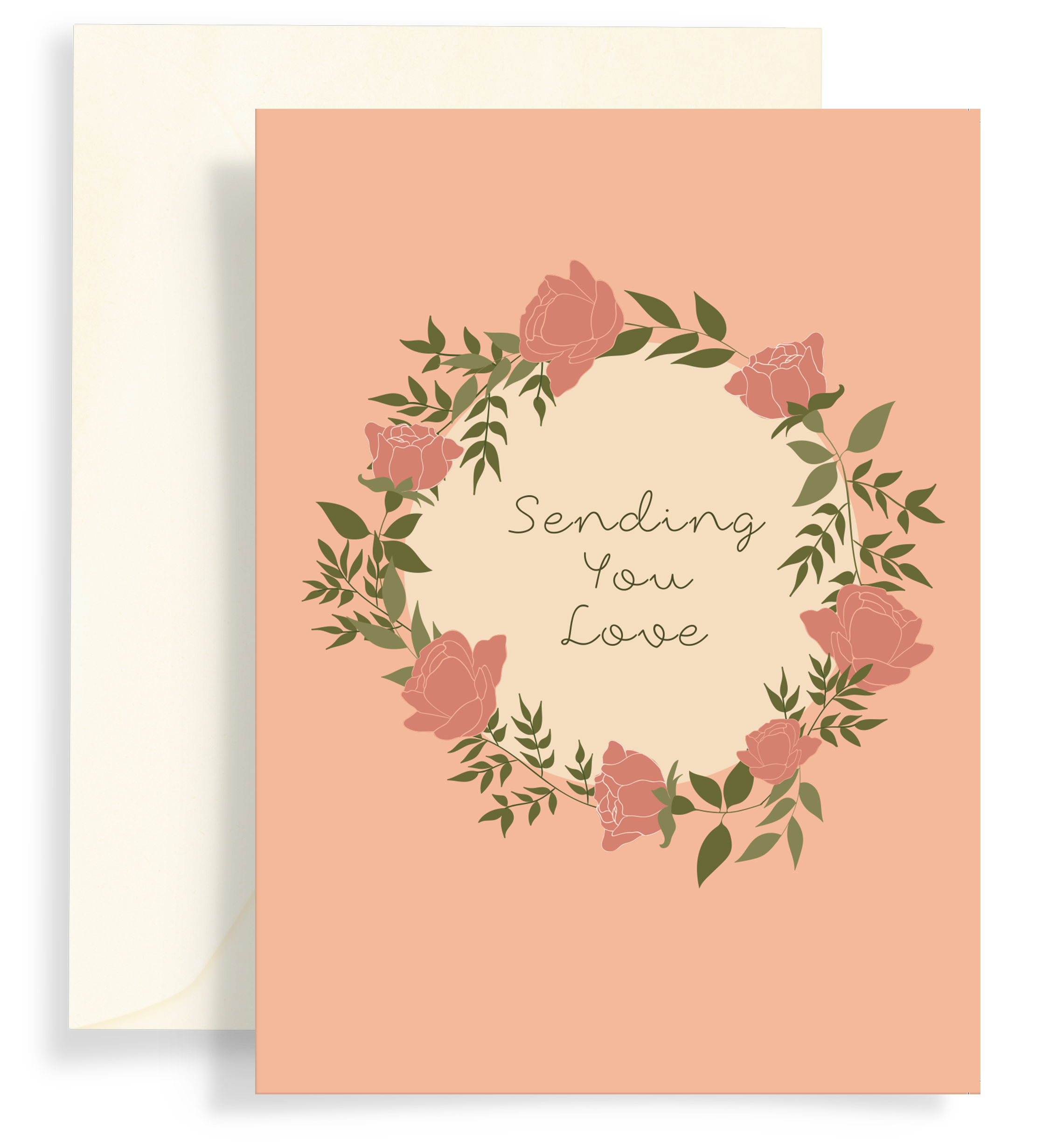 Illustrated greeting card with a beautiful rose wreath on a lovely coral background. Text says 'Sending you love'