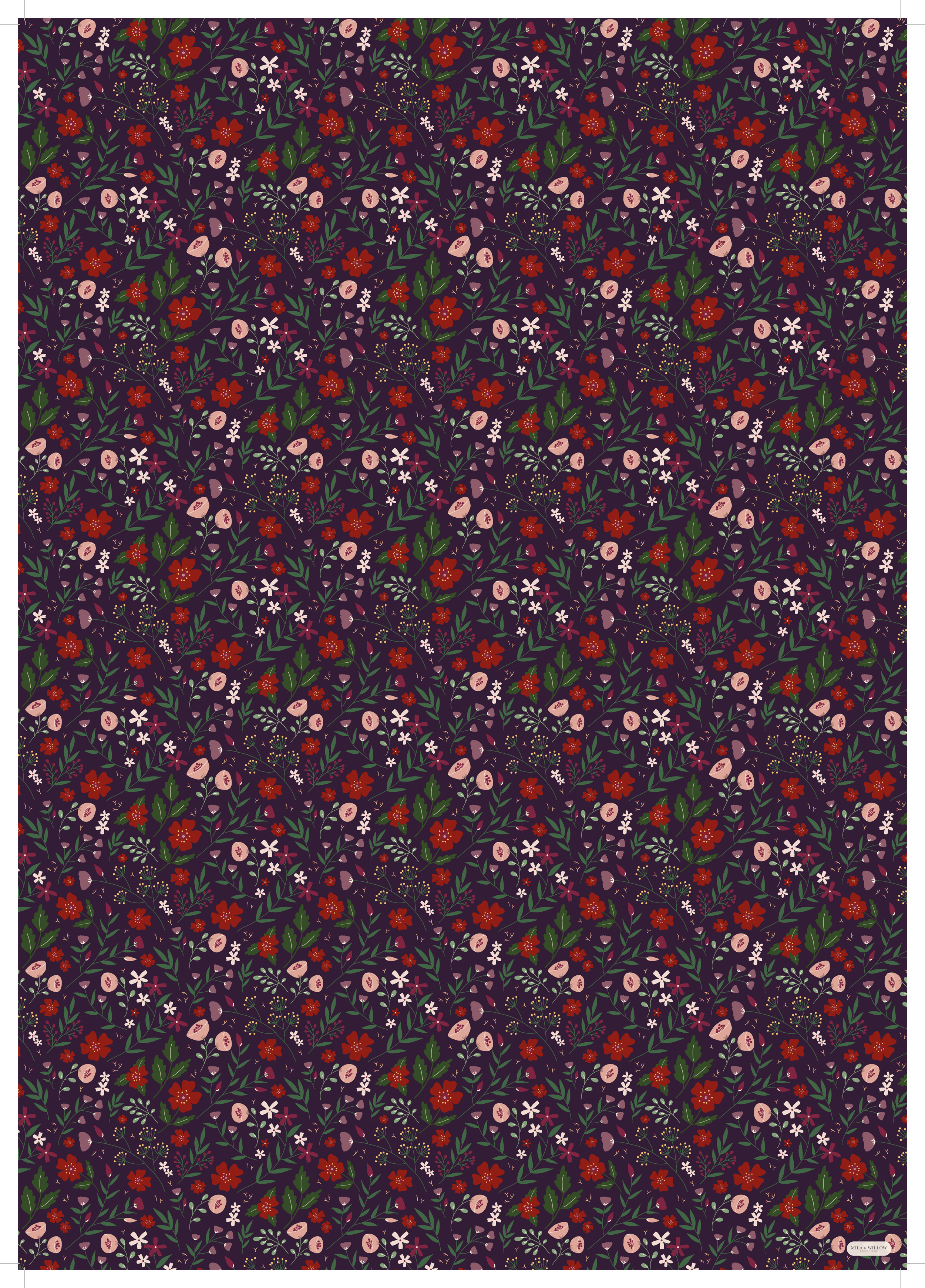 Illustrated wrapping paper with a lovely dark floral pattern on a plum background.