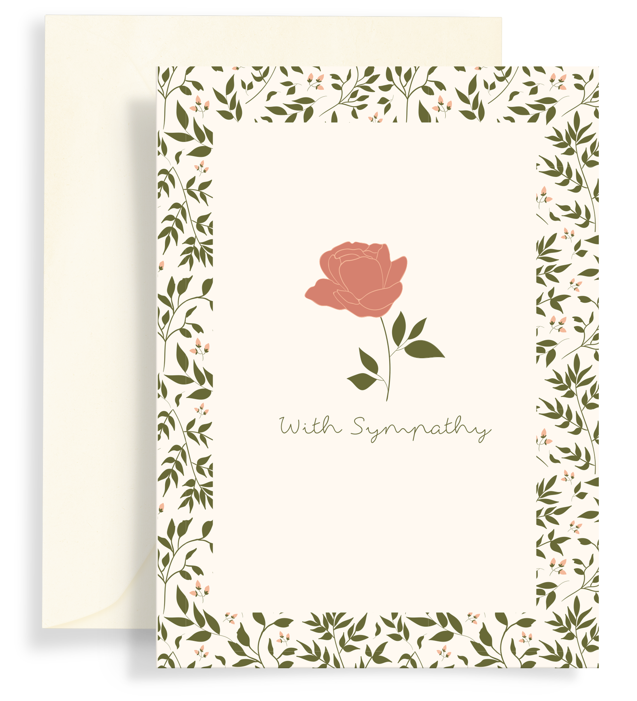 Illustrated greeting card with a beautiful single rose illustrated and a border of foliage on a cream background. Text says 'with sympathy'