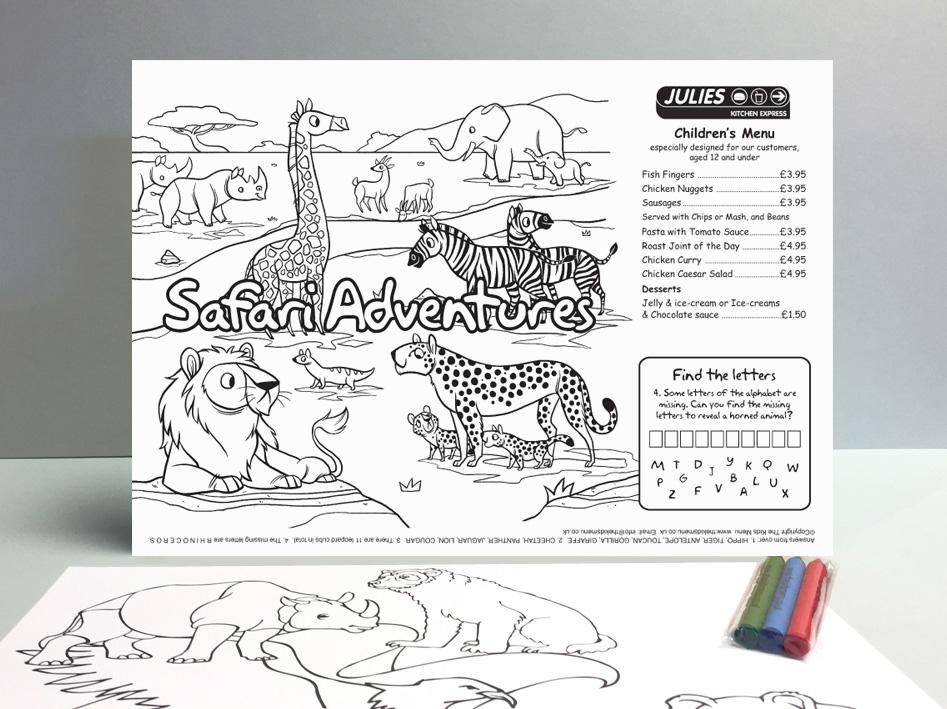 safari kids menu sheet