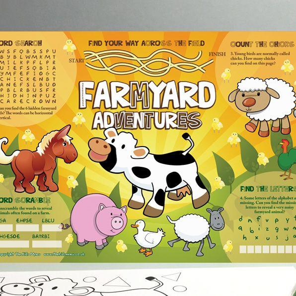 childrens activity sheet menus, kids placemats, kids menu sheets, menu sheets for restaurants
