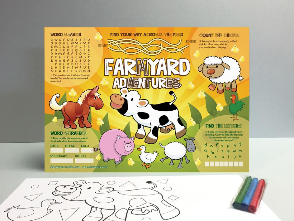 farmyard kids menu sheet