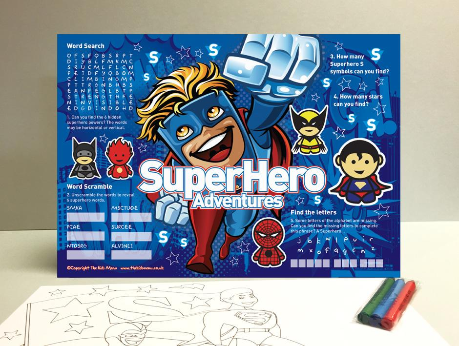 superhero kids placemats