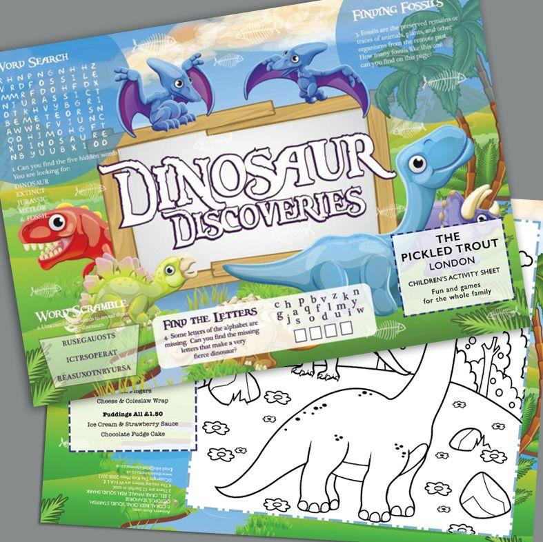 dinosaur kids menu sheet