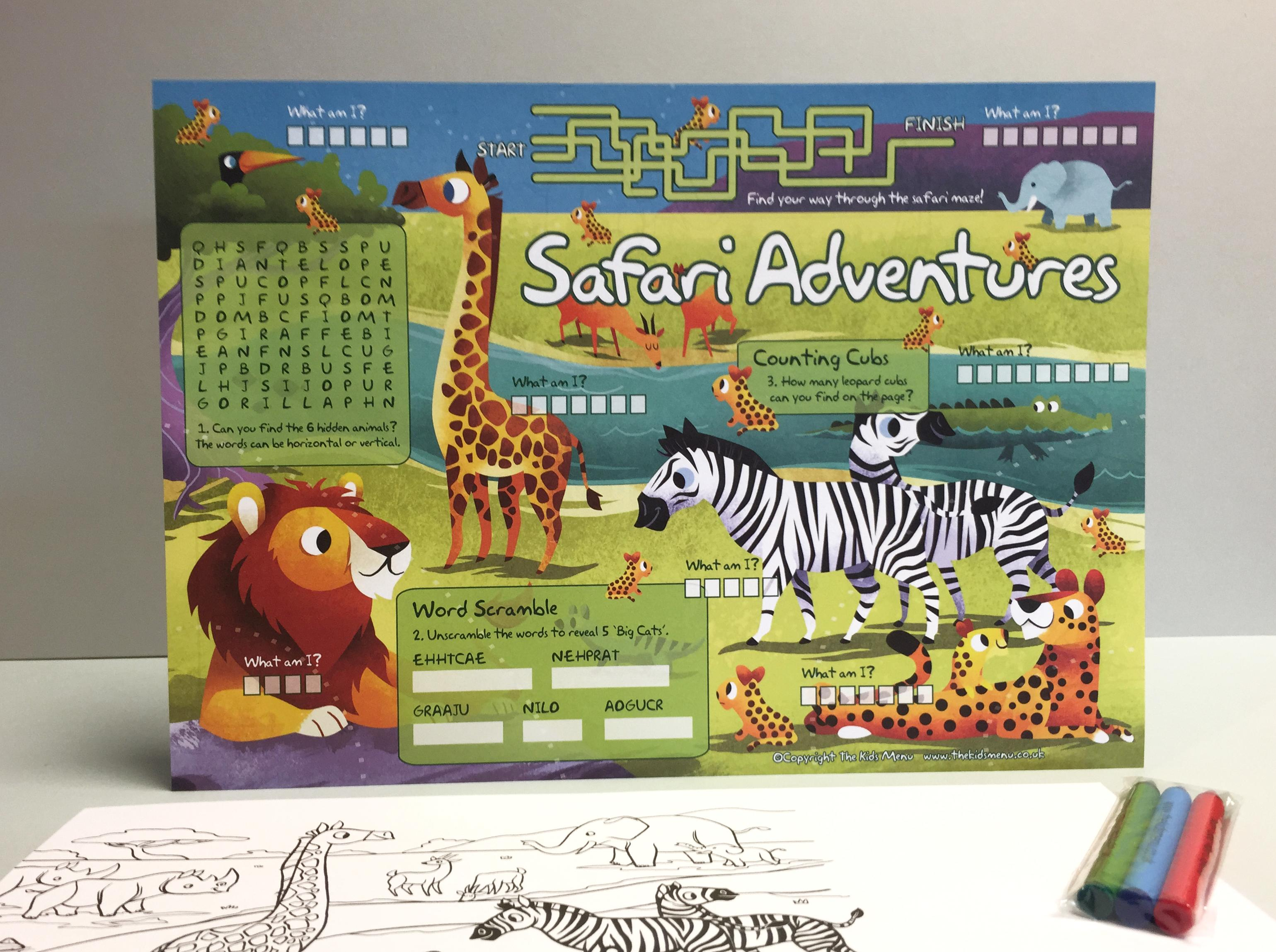 safari kids placemats