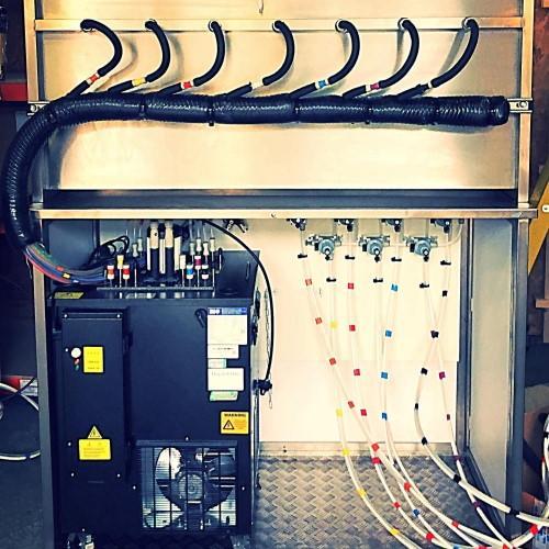 Dispense setup inside mobile tap wall
