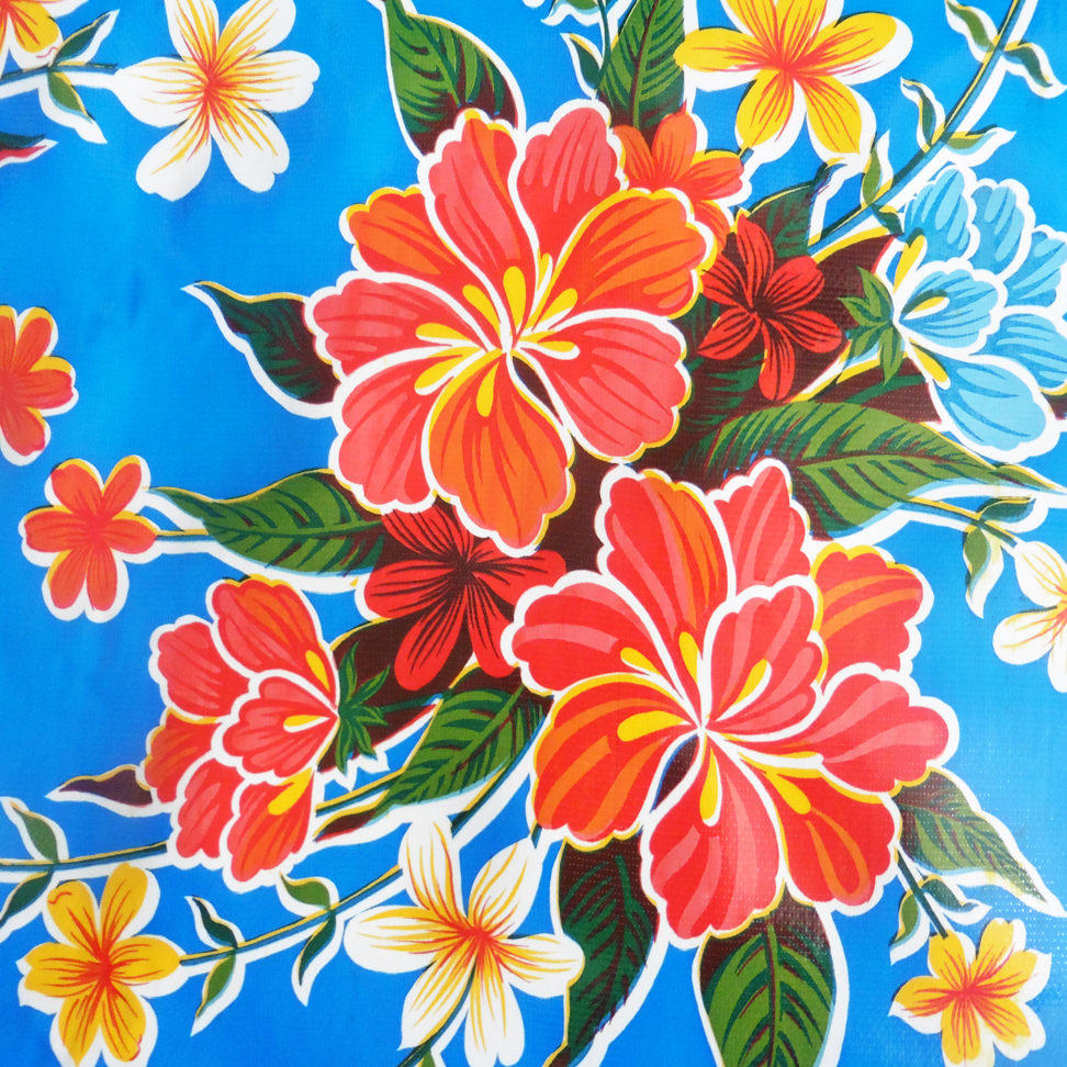 Blue Hibiscus Mexican Oilcloth