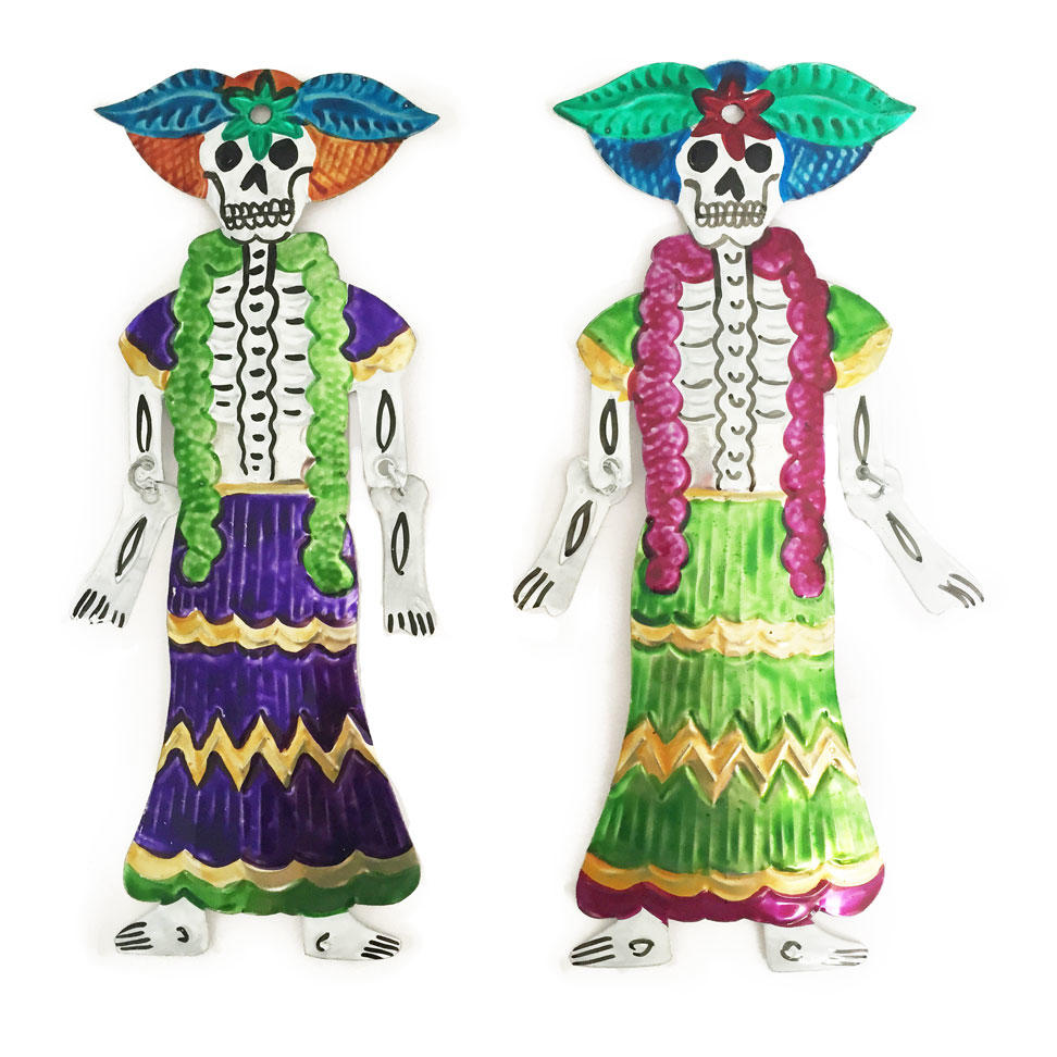 Mexican Painted Day of the Dead Hinged Catrina Ornament