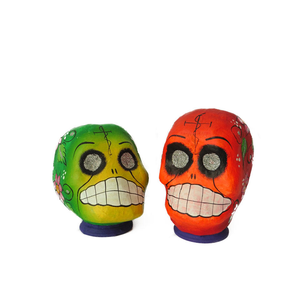 Red and Green Handmade Mexican Skulls