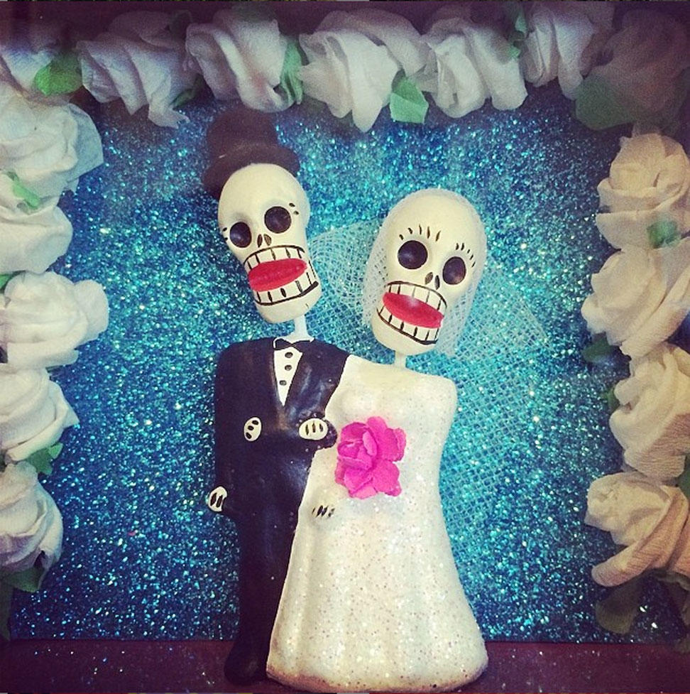 Mexican Tin and Glitter Day of the Dead Wedding Nicho