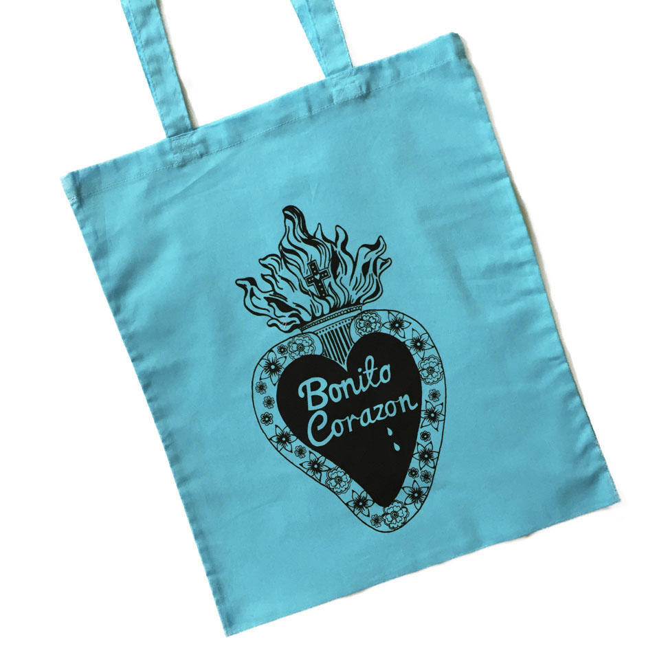 Pretty Heart Tote Bags - Pale Blue