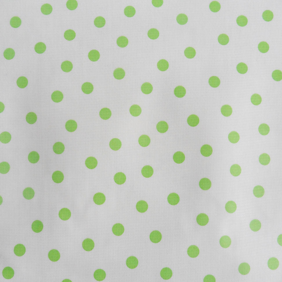 Green Spotty Oilcloth on White Background