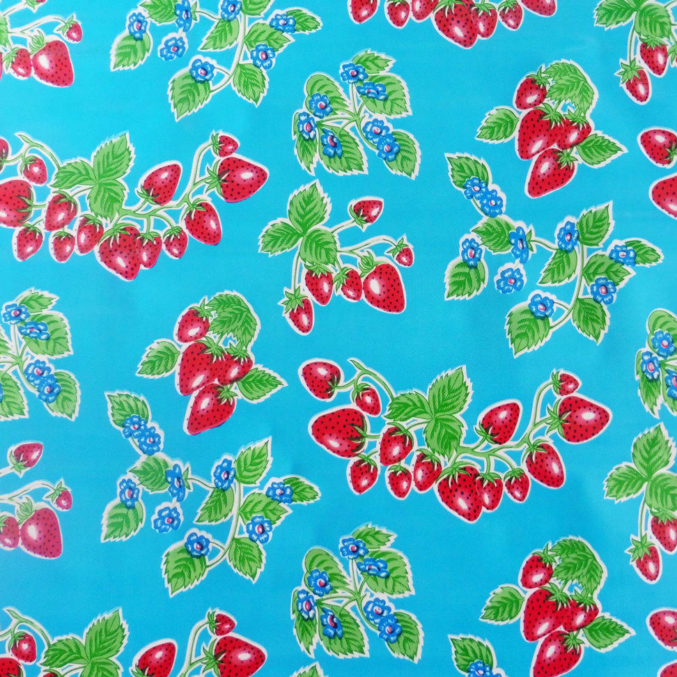 Blue Strawberry Oilcloth