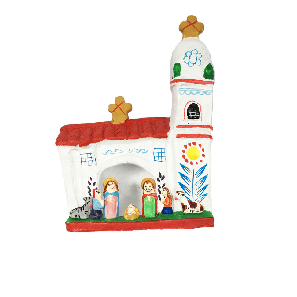 Minature Peruvian Nativity Scene with Church