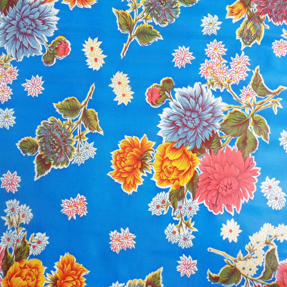 Blue Mums Mexican Oilcloth