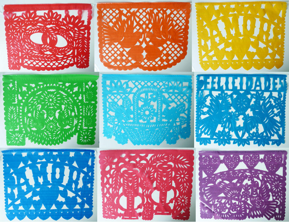 Large Coloured Mexican Papel PIcado Wedding Banners