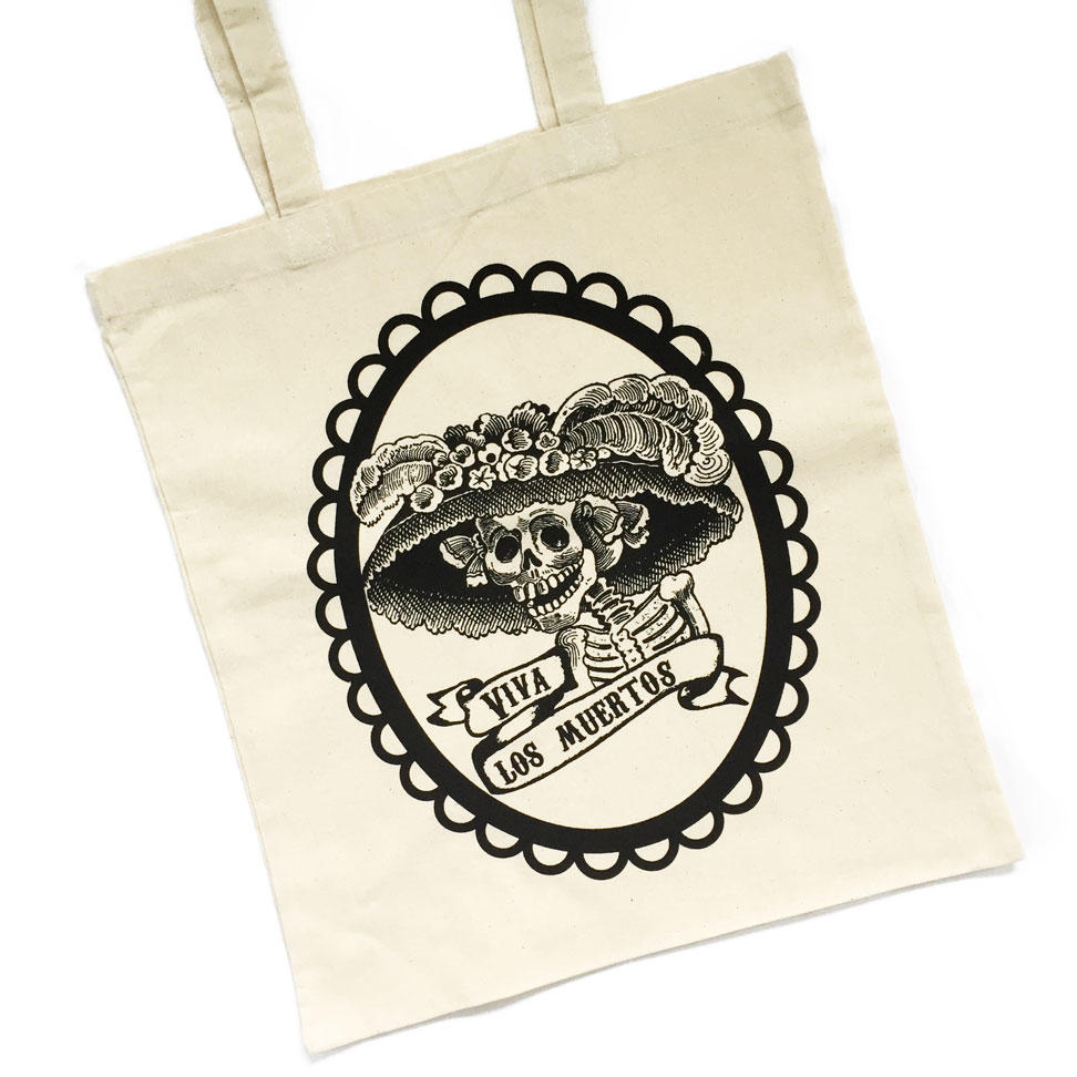 Mexican Day of the Dead Tote Bags - Black on Natural Bag