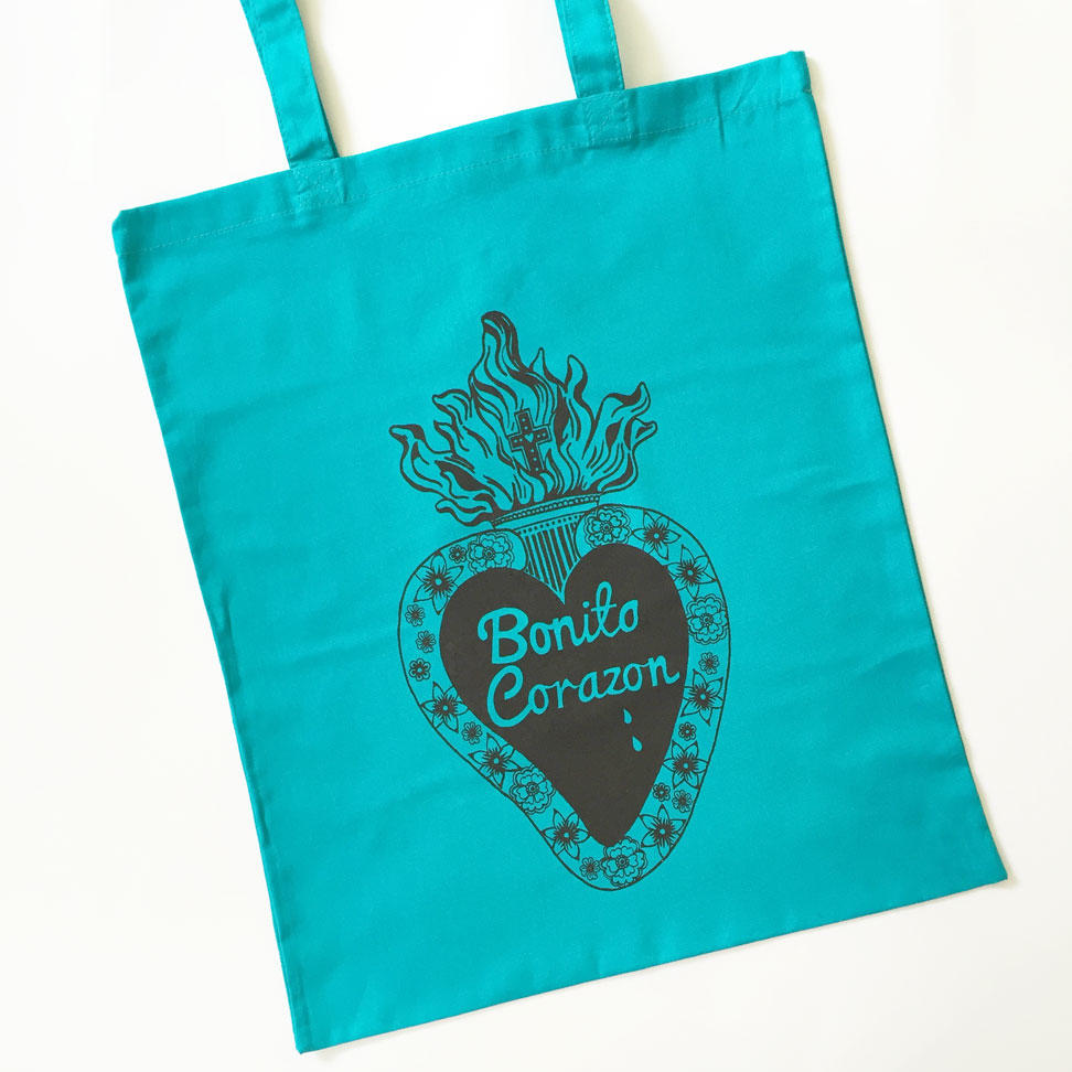 Pretty Heart Tote Bags - Turquoise