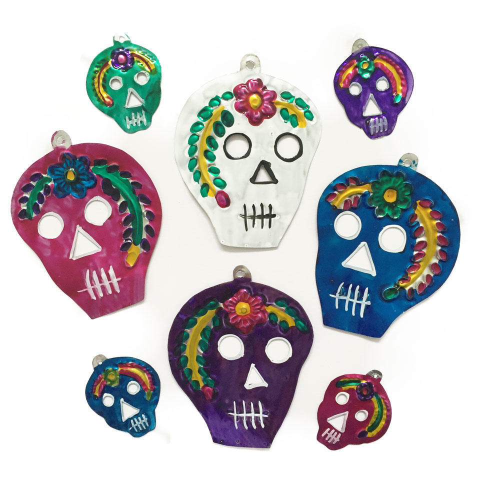 Mexican Handpainted Tin Skulls