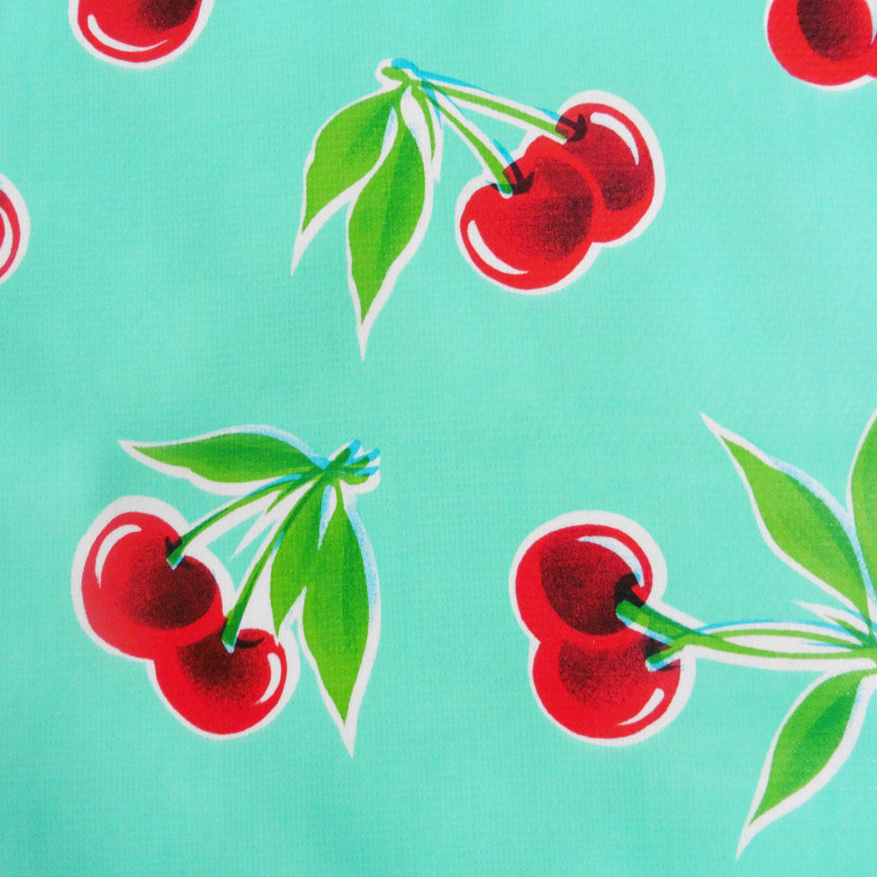 Red Cherry Print on Turquoise Oilcloth
