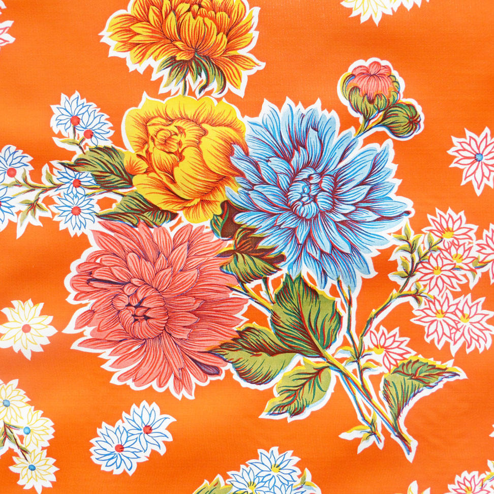 Orange Chrysanthemum Mexican Oilcloth