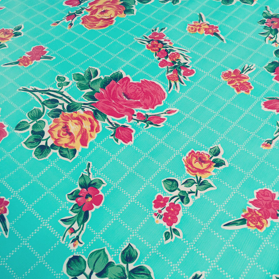 Turquoise Oilcloth with Rose Print