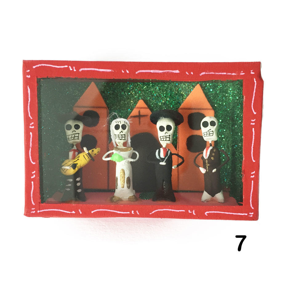 Wood and Glass Day of the Dead Wedding Nicho Box