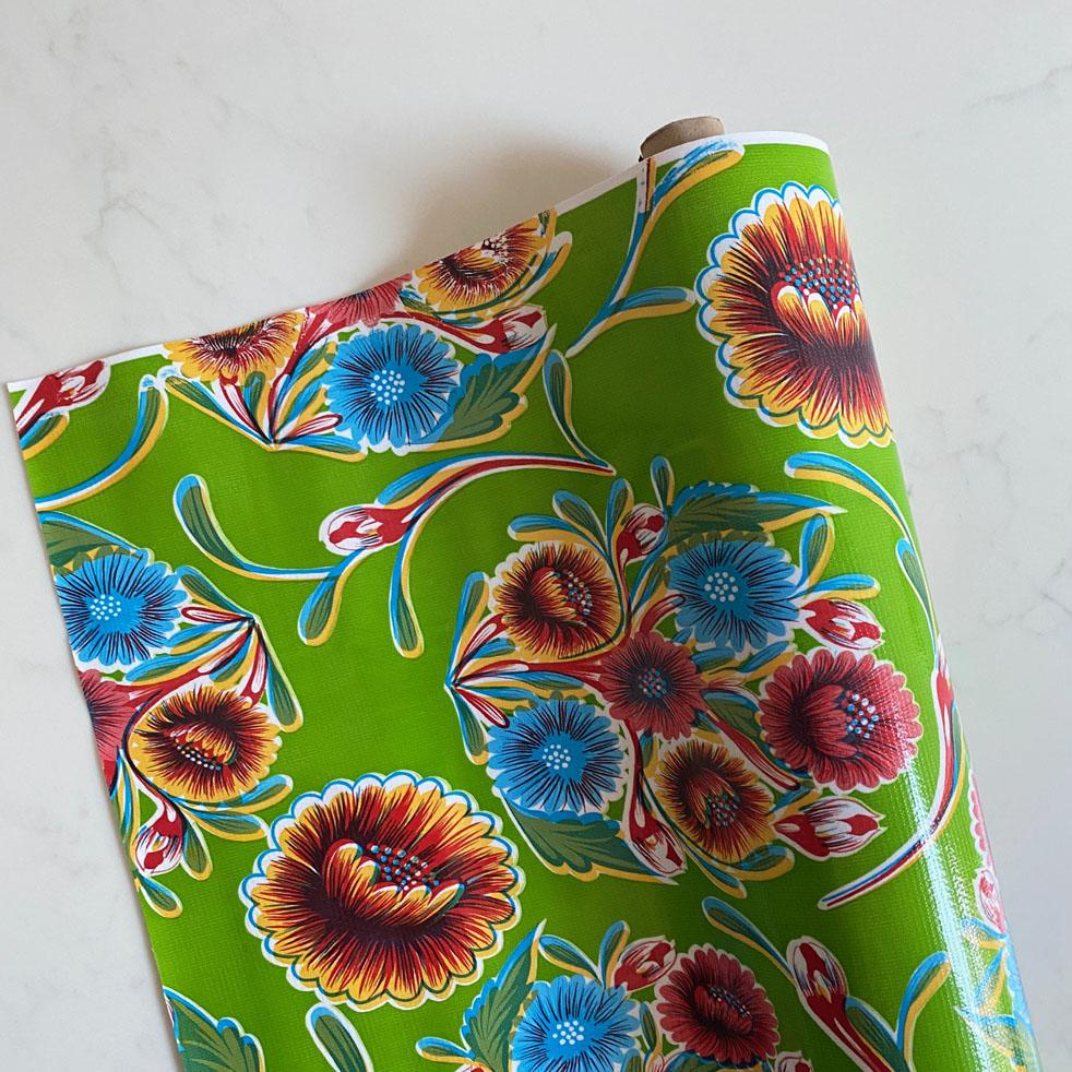 Lime Green Floral Oil cloth
