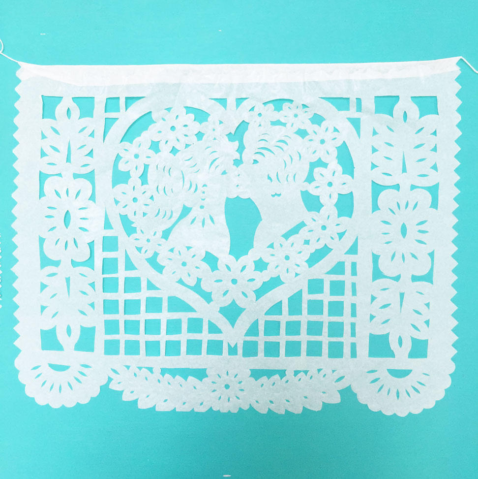 White Mexican Papel Picado for Weddings and Celebrations