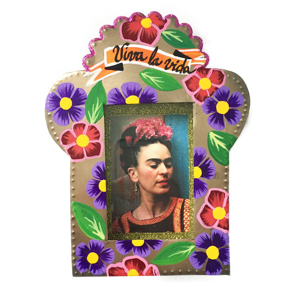 Mexican Tin Nicho with Image of Frida Kahlo