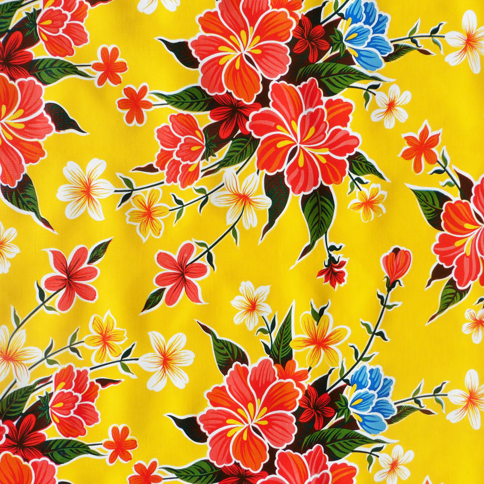 Yellow Floral Hibiscus Mexican Oilcloth