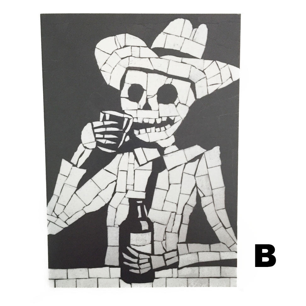 Juan Is Dead Greetings Card - Skeleton drinking