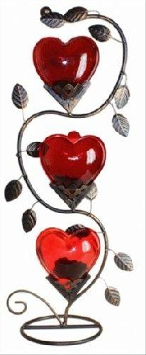 Candle Holder Romantic 3 Hearts Metal Red