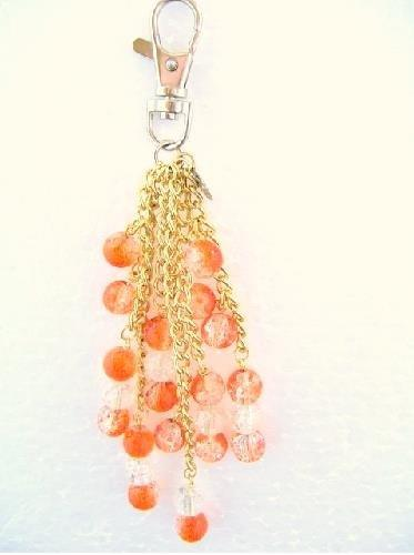 Handbag Charm Crackle Glazed Beads in Orange and Clear Glaze