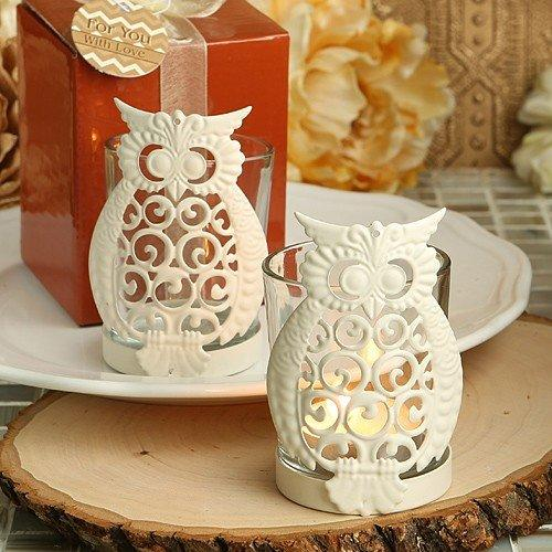 Owl Design Metal & Glass Votive Candle Holders