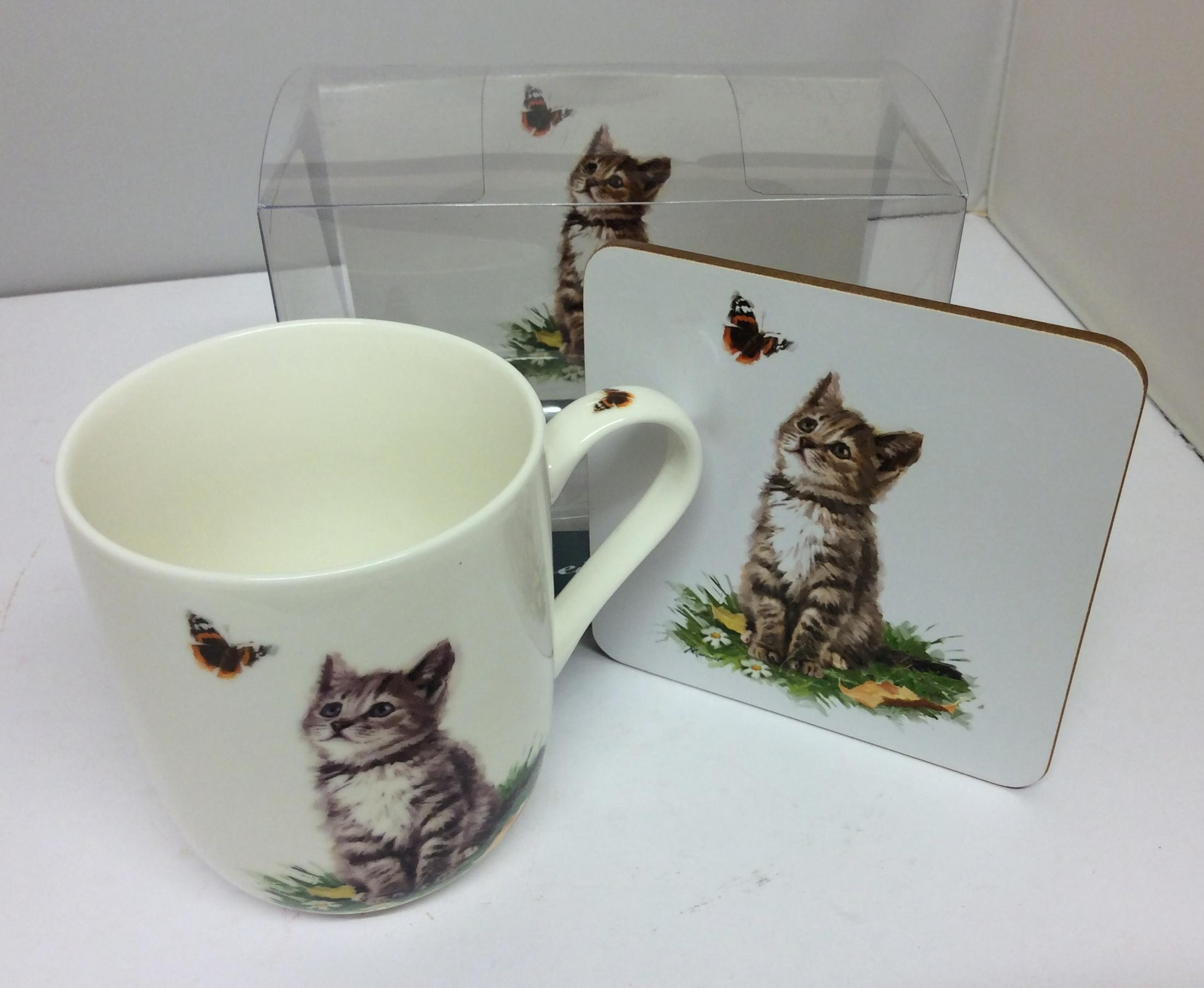 Playful Grey and White Cat Coffee and Tea Cups